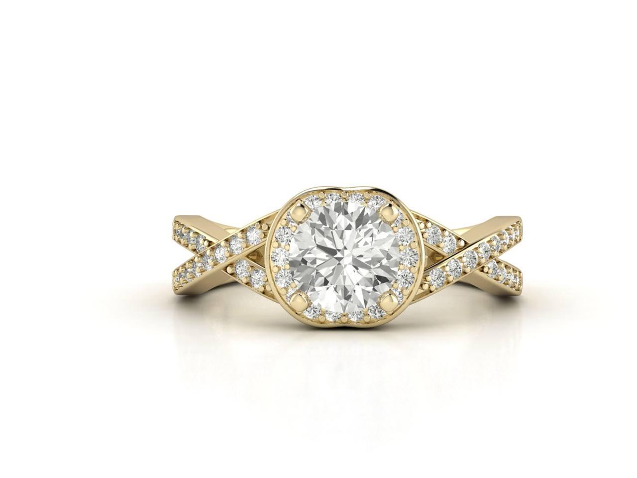 """טבעת-אירוסין-זהב-לבן-האלו-פאווה-קשרים-סה""""כ-0.80-קראט-יהלומים"""