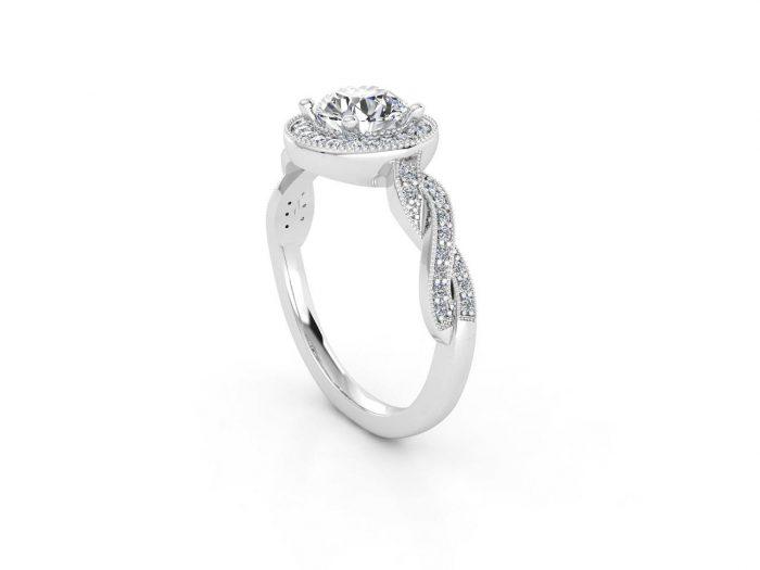 טבעת אירוסין זהב לבן האלו פאווה קשרים 2