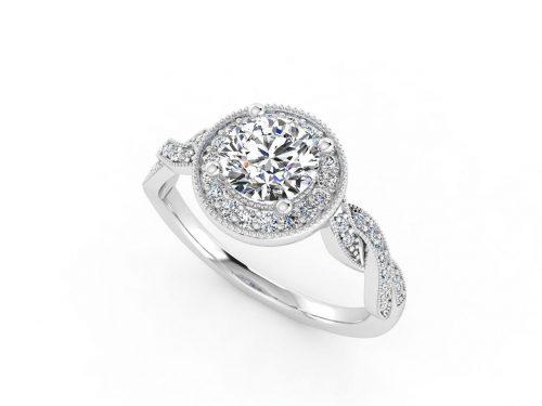 טבעת אירוסין זהב לבן האלו פאווה קשרים