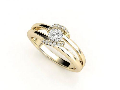 """טבעת-אירוסין-זהב-לבן-מעוצבת-בסגנון-מודרני-סה""""כ-0.30-קראט-יהלומים-6"""