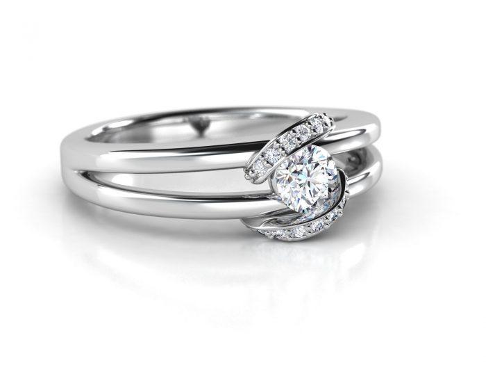 """טבעת-אירוסין-זהב-לבן-מעוצבת-בסגנון-מודרני-סה""""כ-0.30-קראט-יהלומים"""