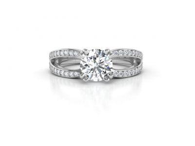 טבעת אירוסין זהב לבן מעוצבת פאווה מפוצל 2