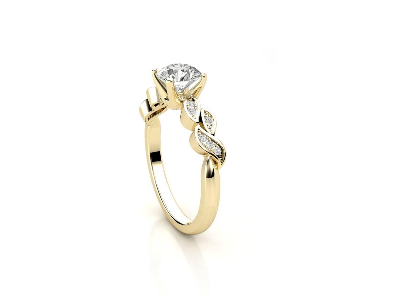 """טבעת-אירוסין-זהב-לבן-סוליטר-מעוצבת-בסגנון-מלכותי-קשת-עלים-סה""""כ-0.67-קראט-יהלומים-3"""