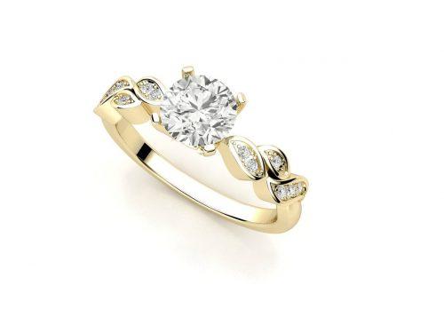 """טבעת-אירוסין-זהב-לבן-סוליטר-מעוצבת-בסגנון-מלכותי-קשת-עלים-סה""""כ-0.67-קראט-יהלומים-6"""
