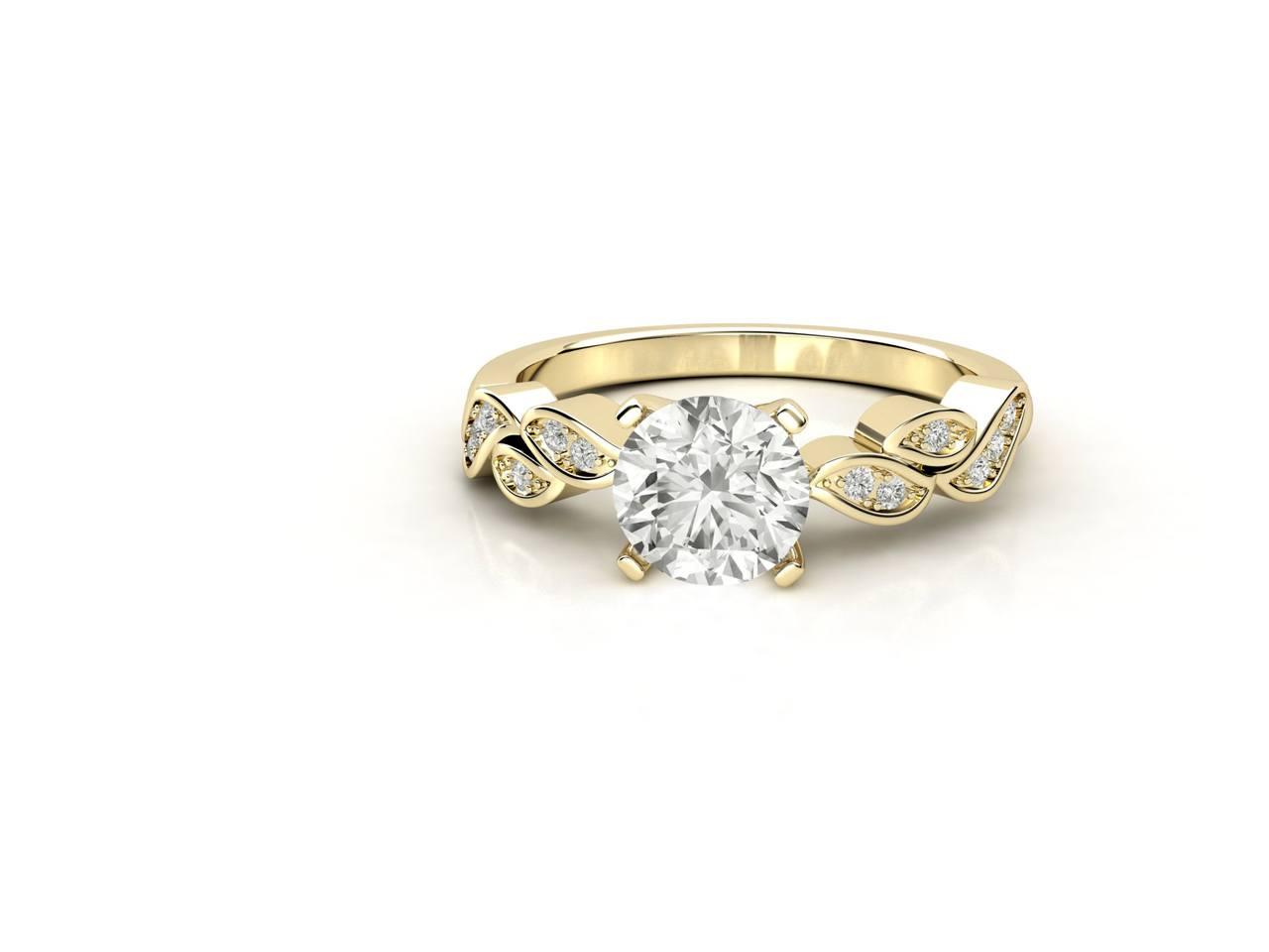 """טבעת-אירוסין-זהב-לבן-סוליטר-מעוצבת-בסגנון-מלכותי-קשת-עלים-סה""""כ-0.67"""