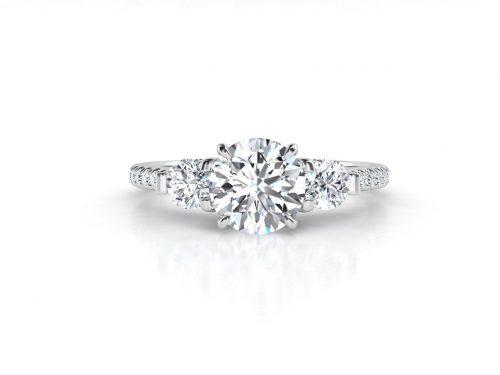 """טבעת-אירוסין-זהב-לבן-שלושה-יהלומים-סה""""כ-0.95-קראט-יהלומים-2"""