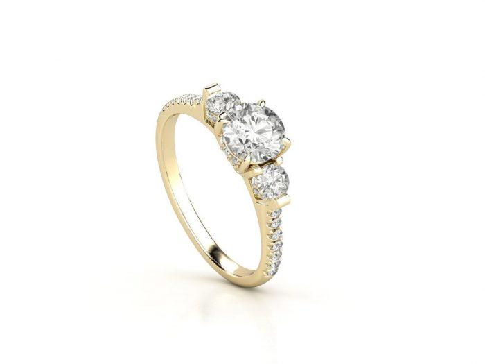 """טבעת-אירוסין-זהב-לבן-שלושה-יהלומים-סה""""כ-0.95-קראט-יהלומים-3"""