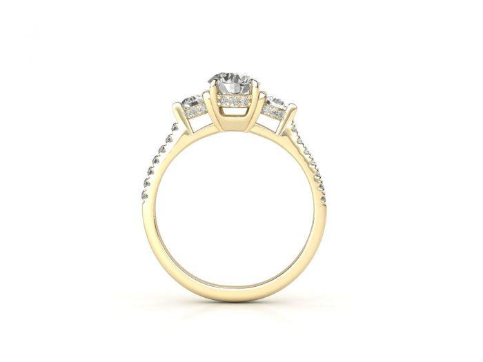 """טבעת-אירוסין-זהב-לבן-שלושה-יהלומים-סה""""כ-0.95-קראט-יהלומים-5"""