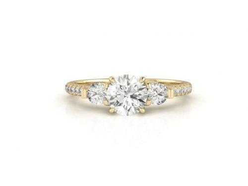 """טבעת-אירוסין-זהב-לבן-שלושה-יהלומים-סה""""כ-0.95-קראט-יהלומים"""