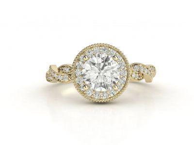 טבעת אירוסין זהב צהוב האלו פאווה קשרים 3
