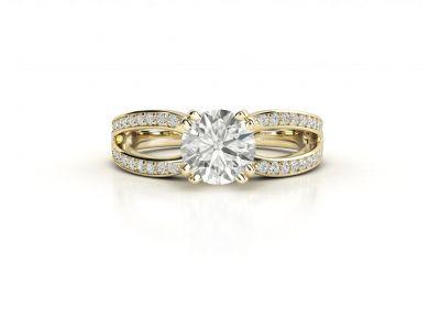 טבעת אירוסין זהב צהוב מעוצבת פאווה מפוצל 2