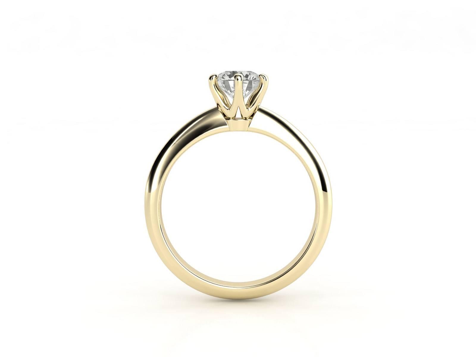 טבעת אירוסין זהב צהוב סוליטר קלאסית עם יהלום מרכזי 0.41 קראט 2