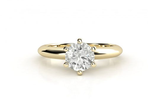 טבעת אירוסין זהב צהוב סוליטר קלאסית עם יהלום מרכזי 0.41 קראט 3