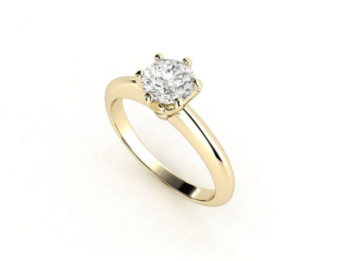 טבעת אירוסין זהב צהוב סוליטר קלאסית עם יהלום מרכזי 0.41 קראט