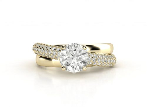 טבעת אירוסין זהב צהוב פאווה מודרני 2