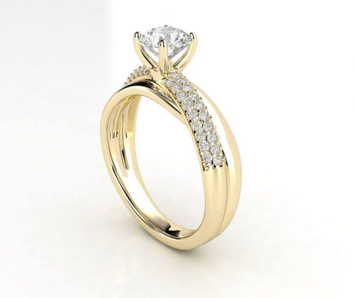 טבעת אירוסין זהב צהוב פאווה מודרני 3