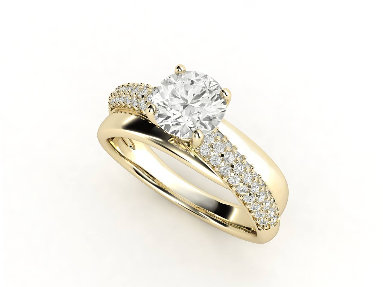 טבעת אירוסין זהב צהוב פאווה מודרני