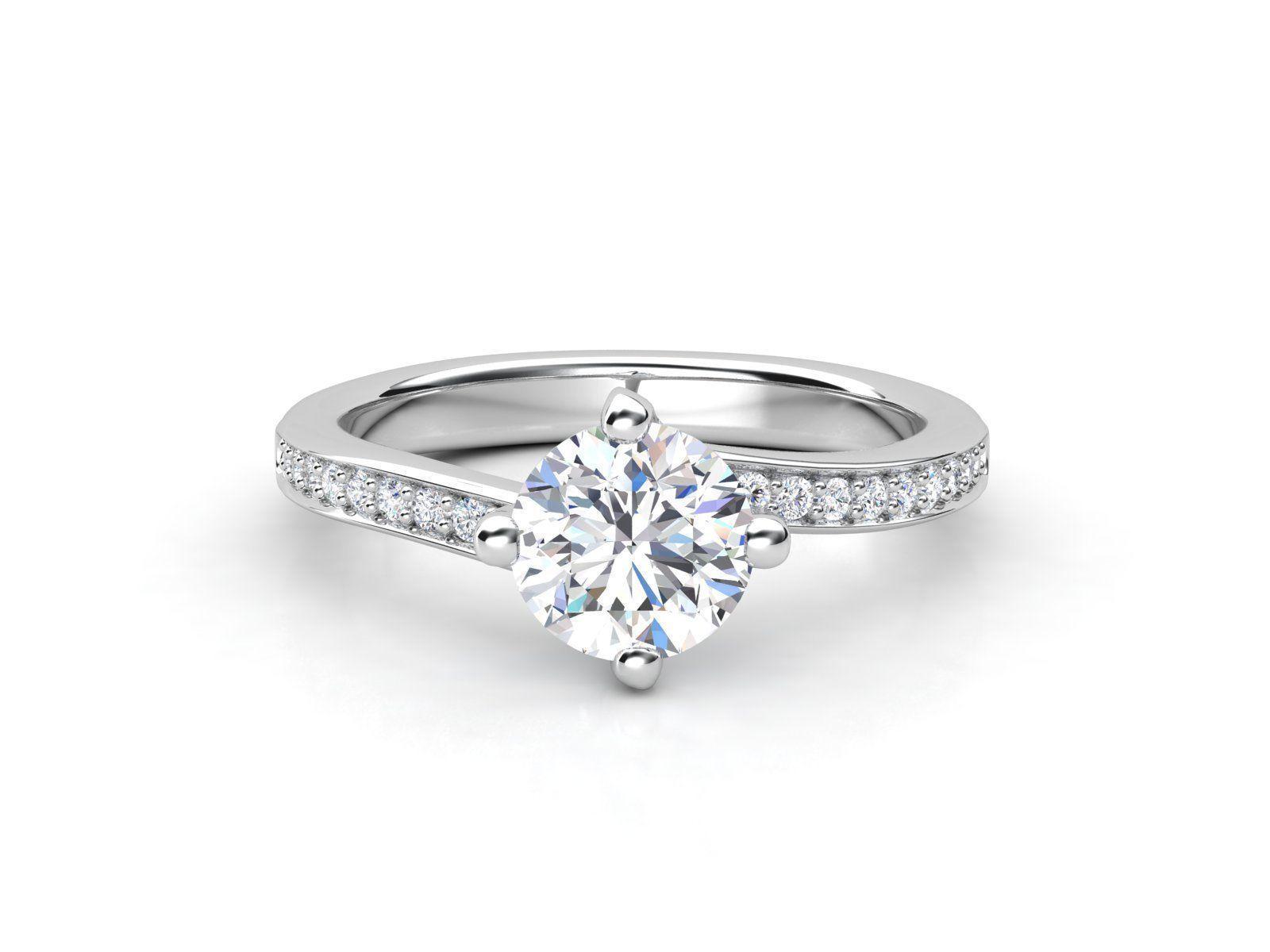 סנסציוני טבעת אירוסין פאווה טוויסט זהב לבן - 0.53 קראט יהלומים | Romero.co.il YG-86