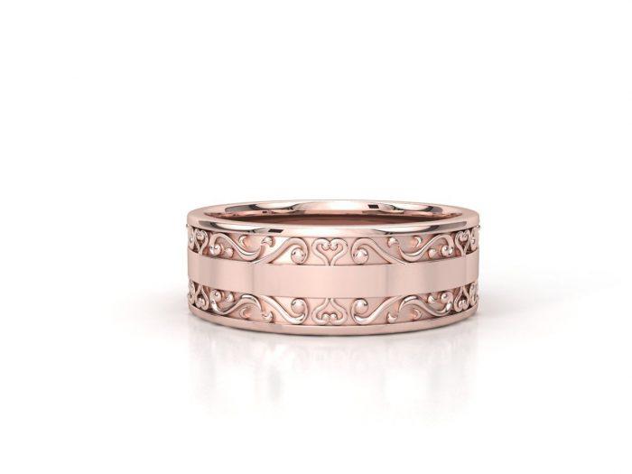 טבעת נישואין זהב אדום לגבר וינטאז' 2