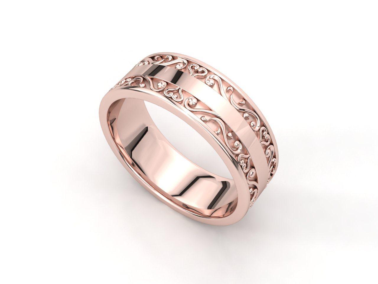 טבעת נישואין זהב אדום לגבר וינטאז'
