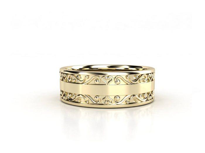 טבעת נישואין זהב צהוב לגבר וינטאז' 2