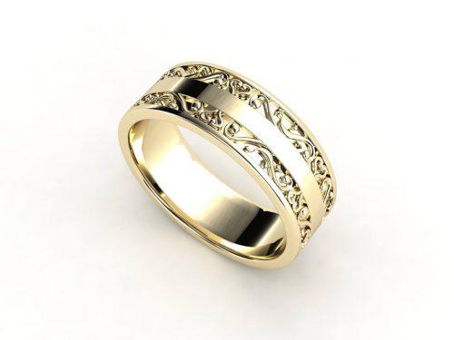 טבעת נישואין זהב צהוב לגבר וינטאז'