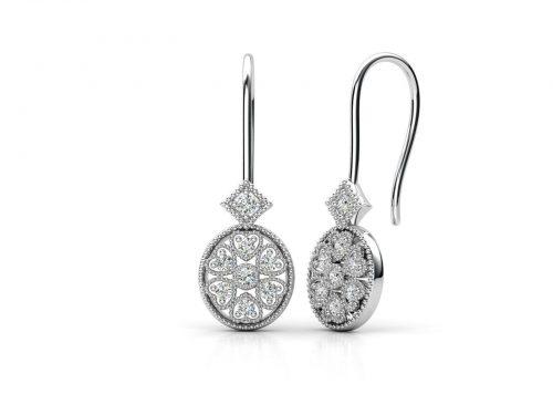 """עגילי-יהלומים-בסגנון-פרח-ביזנטי-סה""""כ-0.38-קראט-יהלומים"""
