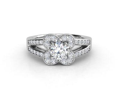 טבעת אירוסין זהב לבן דאבל צ'אנל פרח 2