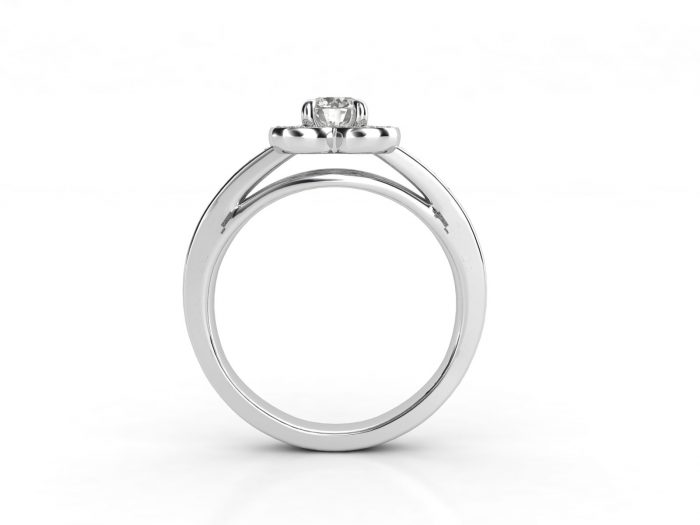 טבעת אירוסין זהב לבן דאבל צ'אנל פרח 3