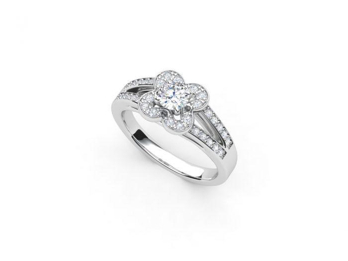 טבעת אירוסין זהב לבן דאבל צ'אנל פרח