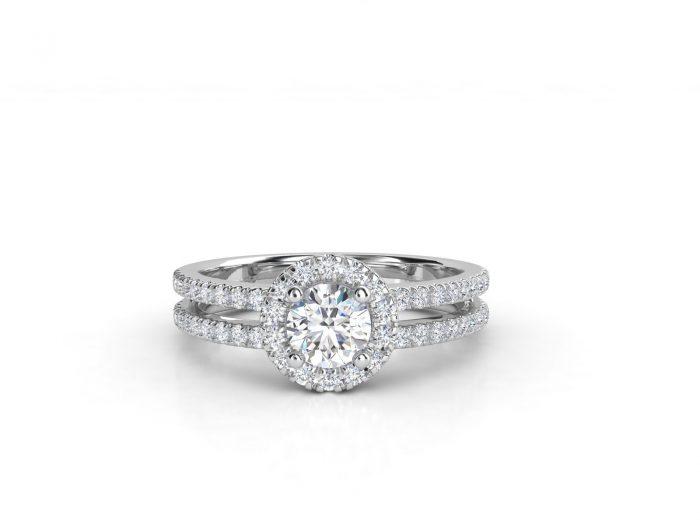 טבעת אירוסין זהב לבן האלו דאבל פאווה רוייל 3