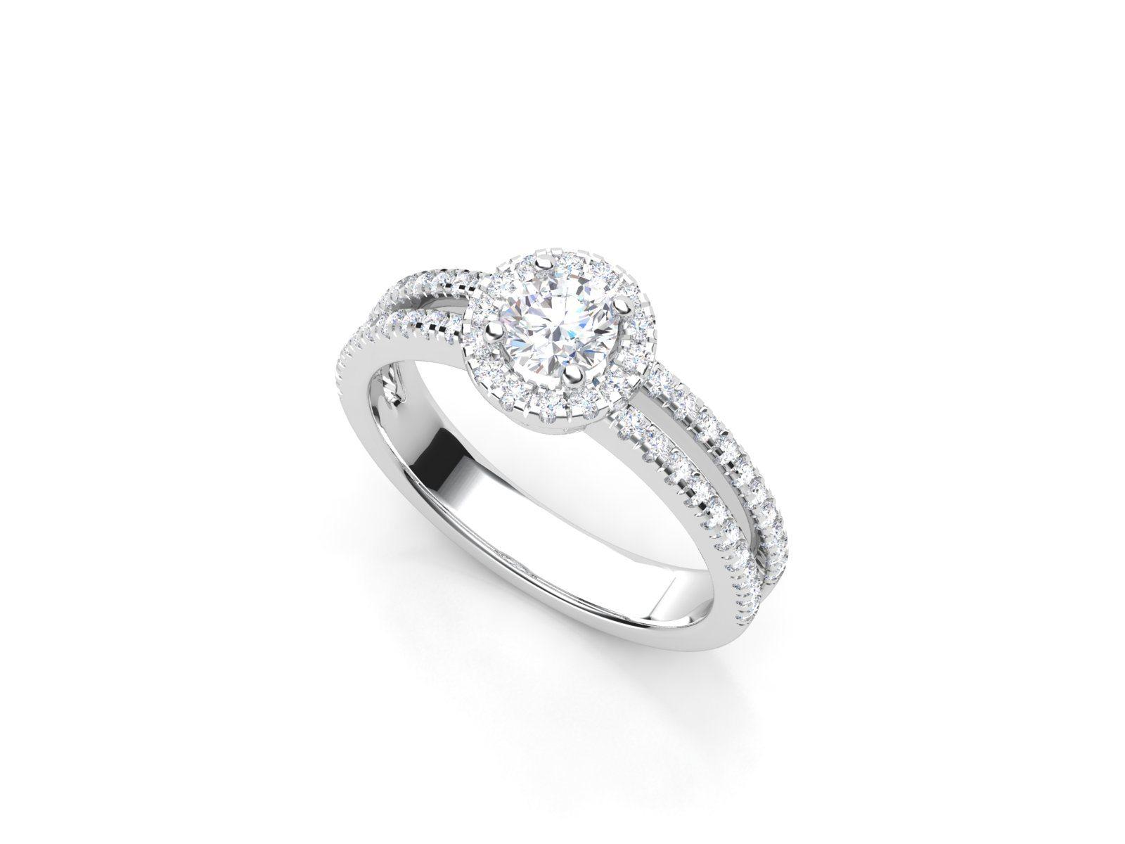 טבעת אירוסין זהב לבן האלו דאבל פאווה רוייל