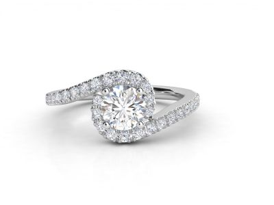 טבעת אירוסין זהב לבן האלו פאווה טוויסט 3