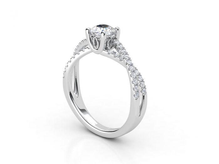 טבעת אירוסין זהב לבן פאווה קשרים יוניקו 2