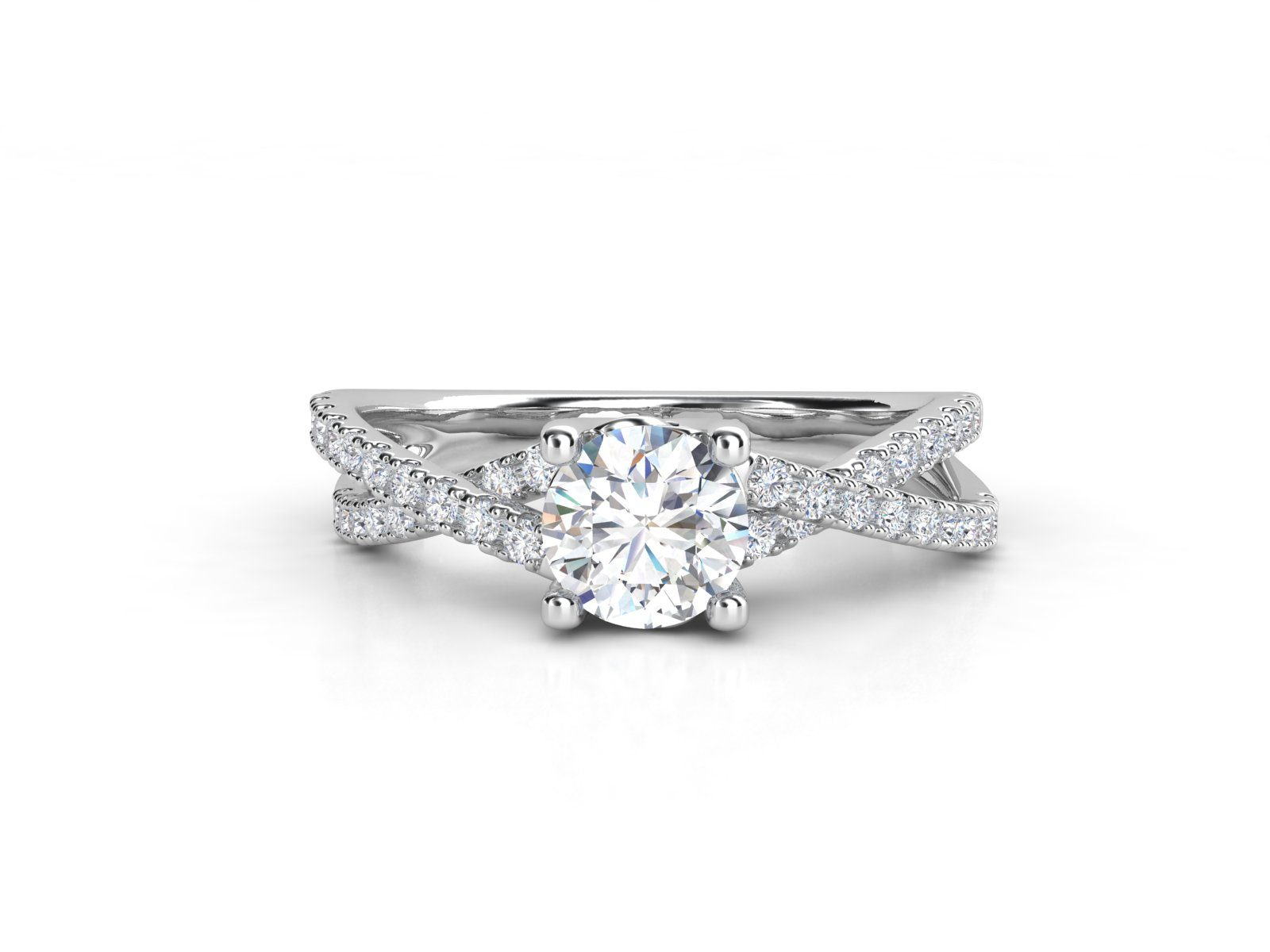 טבעת אירוסין זהב לבן פאווה קשרים יוניקו 3
