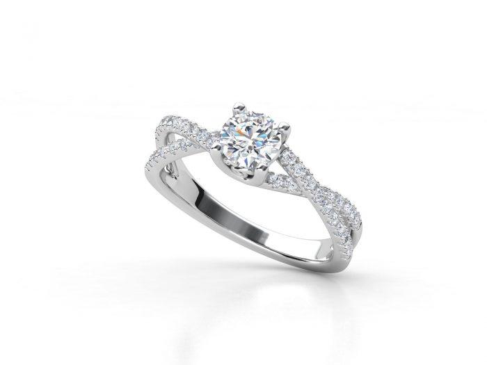 טבעת אירוסין זהב לבן פאווה קשרים יוניקו
