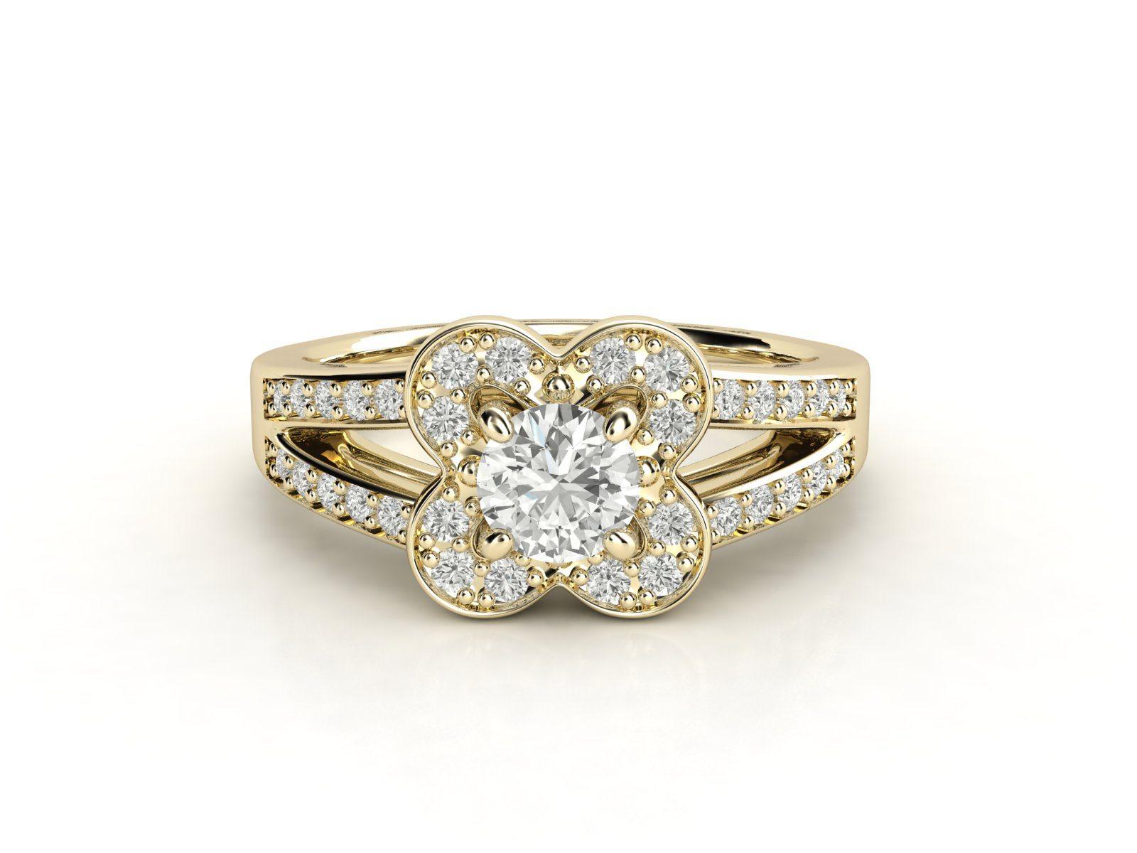 טבעת אירוסין זהב צהוב דאבל צ'אנל פרח 2
