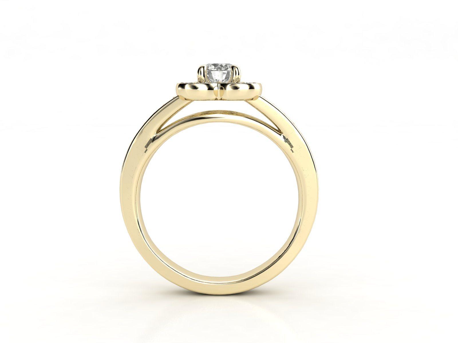 טבעת אירוסין זהב צהוב דאבל צ'אנל פרח 3