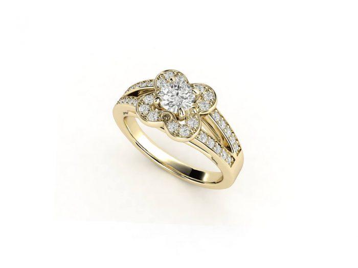 טבעת אירוסין זהב צהוב דאבל צ'אנל פרח