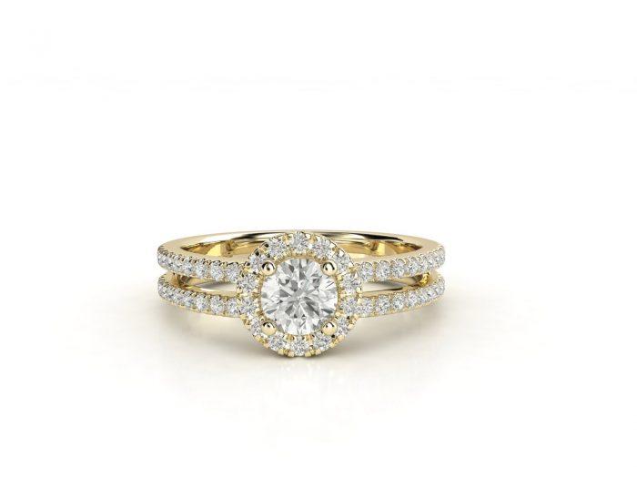 טבעת אירוסין זהב צהוב האלו דאבל פאווה רוייל 3