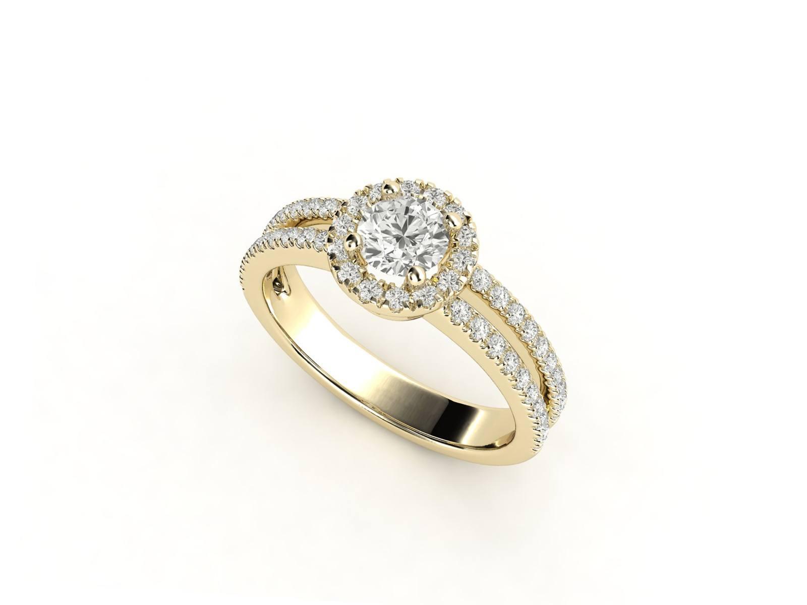 טבעת אירוסין זהב צהוב האלו דאבל פאווה רוייל