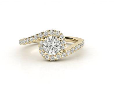 טבעת אירוסין זהב צהוב האלו פאווה טוויסט 3