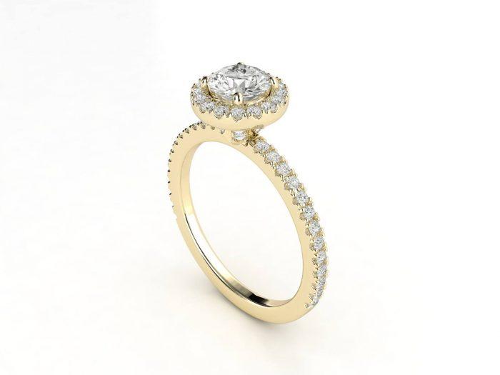 טבעת אירוסין זהב צהוב האלו פאווה רוייל ליפט 2