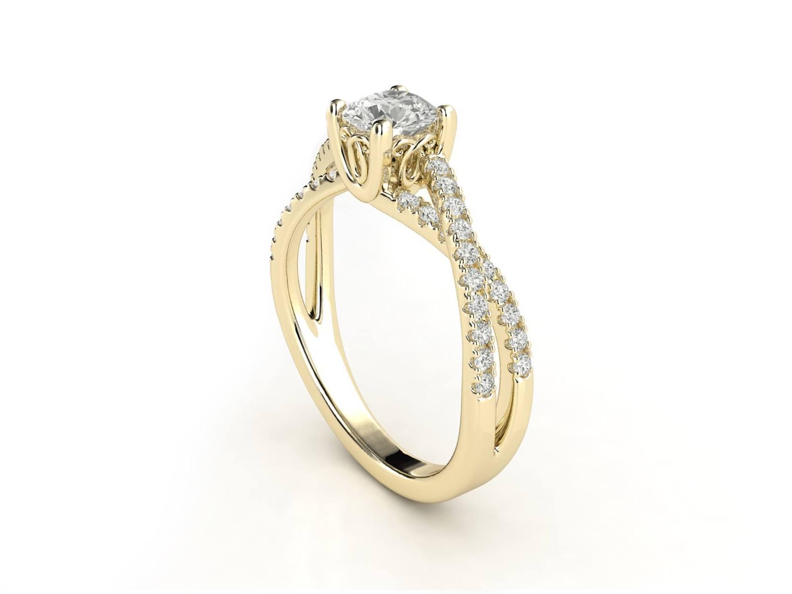 טבעת אירוסין זהב צהוב פאווה קשרים יוניקו 2