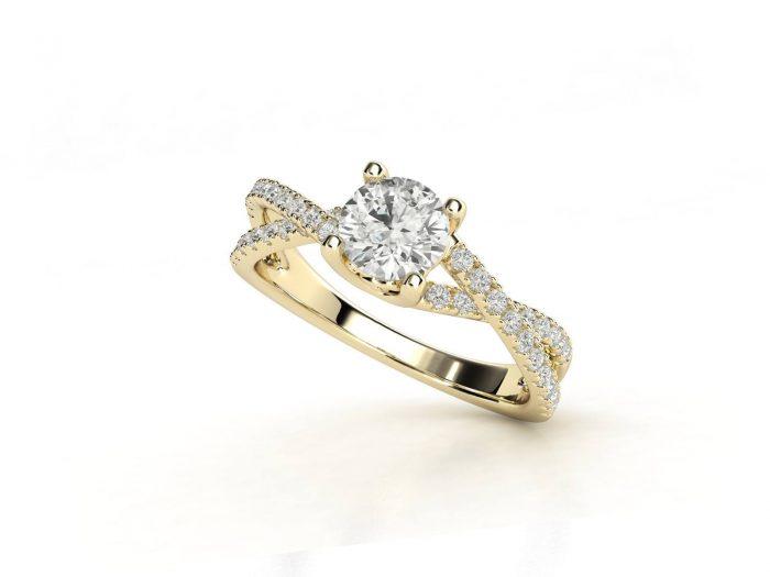 טבעת אירוסין זהב צהוב פאווה קשרים יוניקו