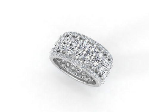 טבעת יהלומים זהב לבן פאווה נצחיות פרמיום, סהכ 4.16 קאראט יהלומים 2