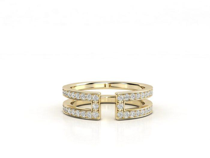 טבעת יהלומים זהב צהוב דואלינה 3