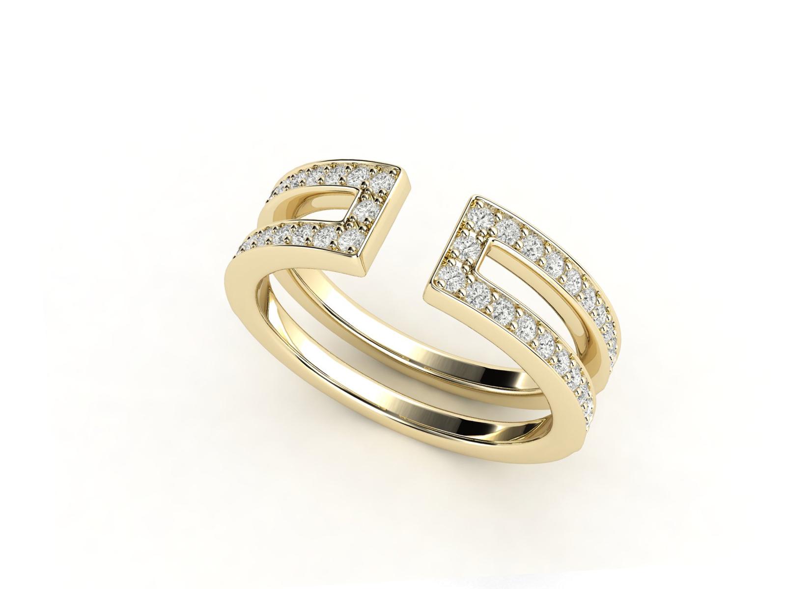 טבעת יהלומים זהב צהוב דואלינה