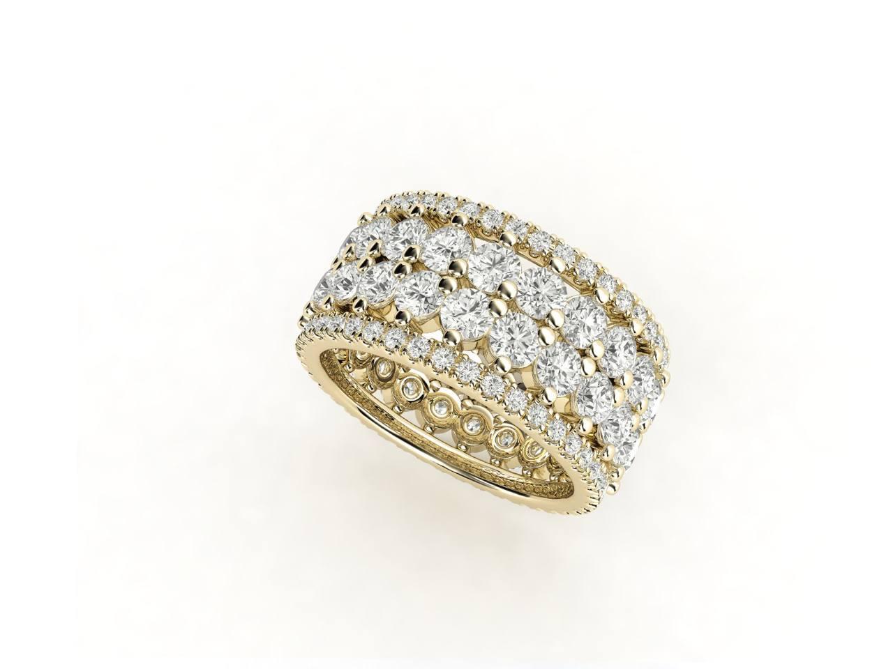 טבעת יהלומים זהב צהוב פאווה נצחיות פרמיום, סהכ 4.16 קאראט יהלומים 2
