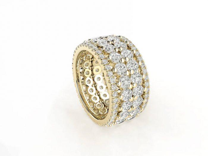 טבעת יהלומים זהב צהוב פאווה נצחיות פרמיום, סהכ 4.16 קאראט יהלומים